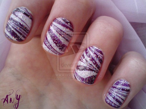 27_Purple Water Marble Nail Design
