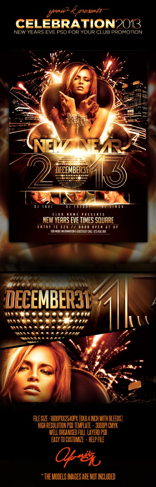17_New Years Eve 2013 Celebration PSD Flyer Template