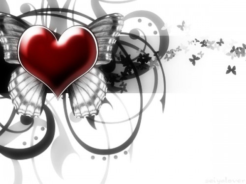 Heart and Butterfly Wallpaper