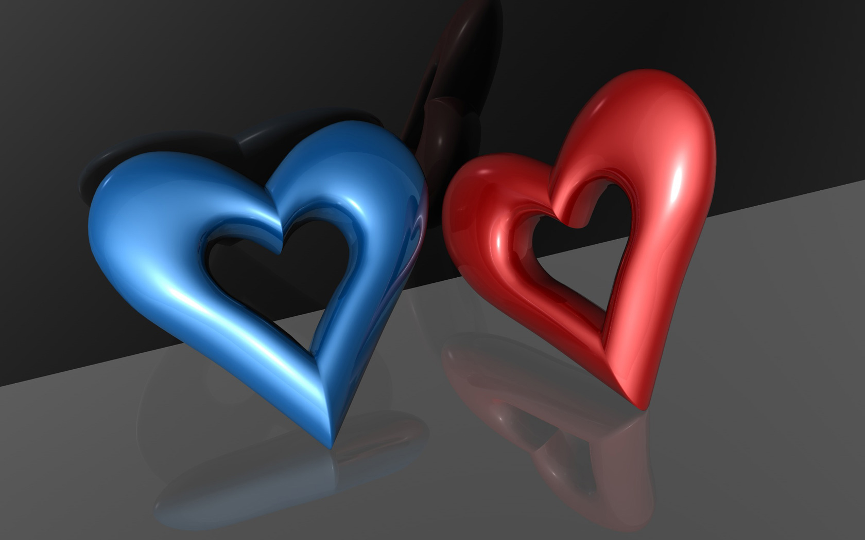 Blue and Red 3D Heart Wallpaper