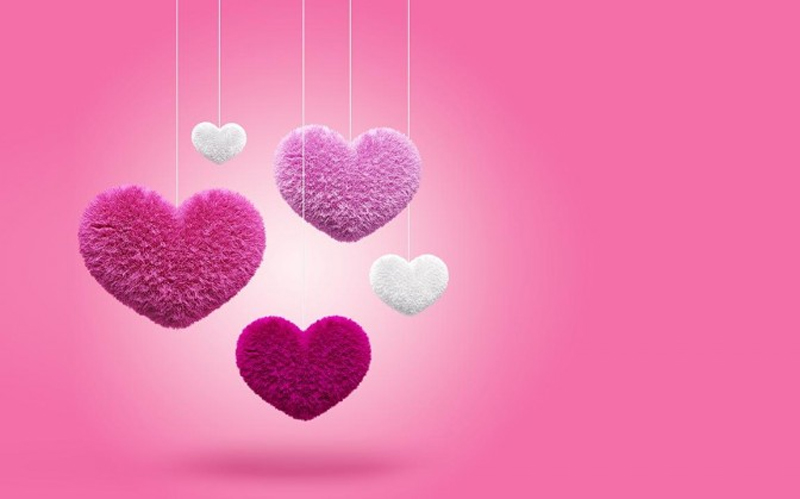 Fluffy Hearts Wallpaper