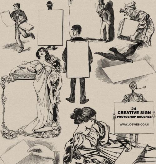24 Vintage Print Sign Brushes