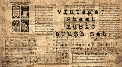 Vintage Sheet Music Brushes