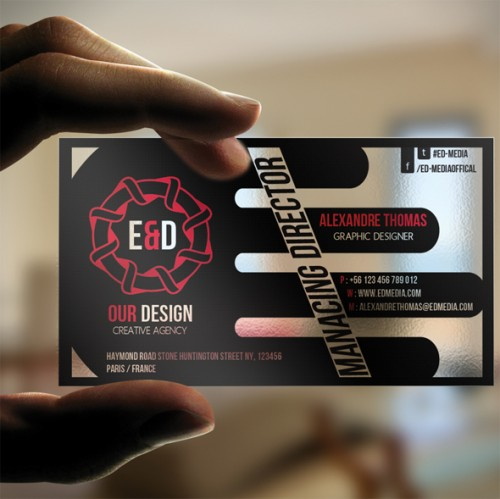 E D media Transparent Business Card