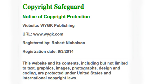 Copyright Safeguard Footer Notice