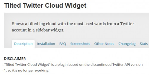 Tilted Twitter Cloud Widget